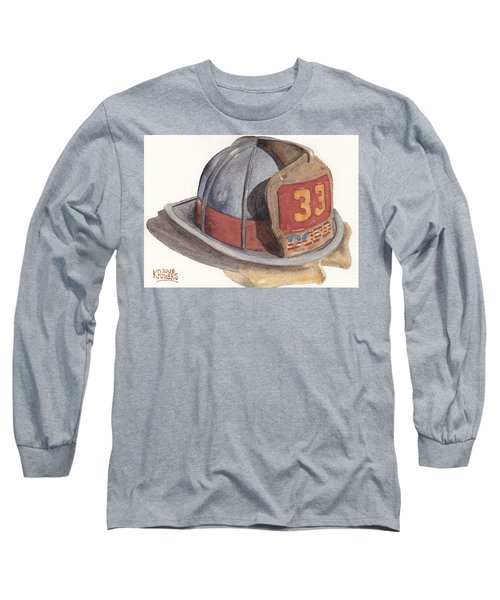 Firefighter Helmet With Melted Visor Long Sleeve T-Shirt