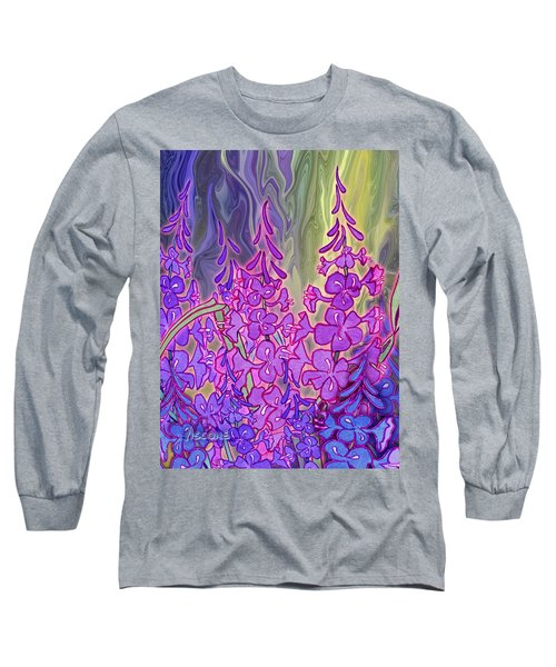 Long Sleeve T-Shirt featuring the mixed media Fireweed Medley by Teresa Ascone