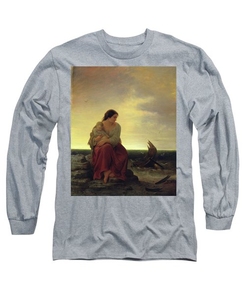 Fishermans Wife Mourning On The Beach Oil On Canvas Long Sleeve T-Shirt