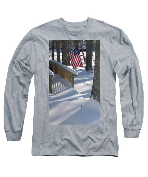 Long Sleeve T-Shirt featuring the photograph Flag Over Morning Snow by Pamela Hyde Wilson