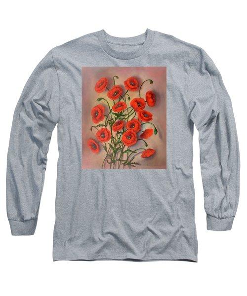 Flander's Poppies Long Sleeve T-Shirt by Randy Burns