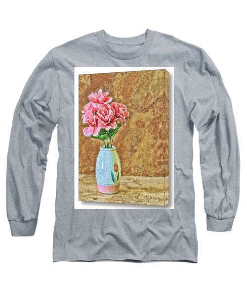 Flowers In Crayon- No Longer Available Long Sleeve T-Shirt