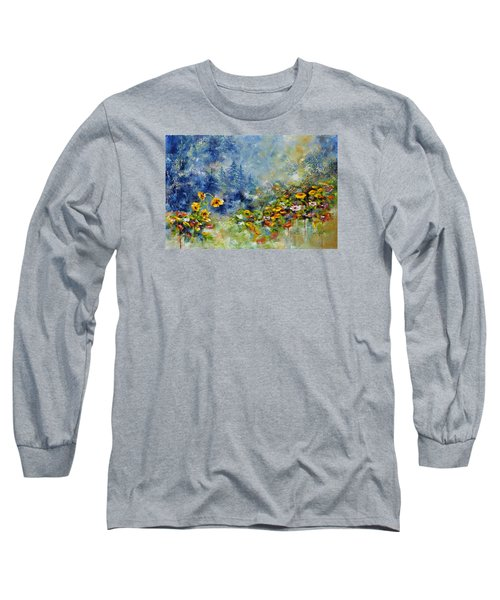Long Sleeve T-Shirt featuring the painting Flowers In The Fog by Craig T Burgwardt