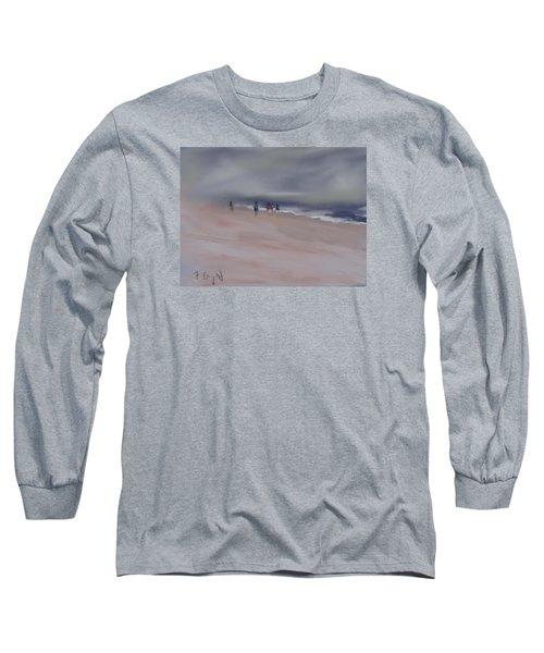 Long Sleeve T-Shirt featuring the digital art Fog On Folly Field Beach by Frank Bright