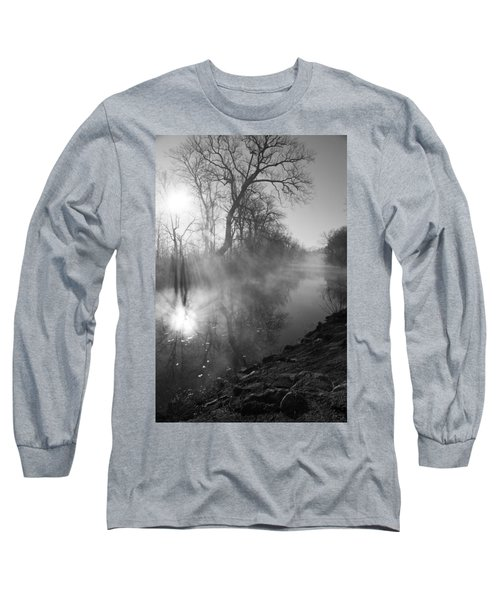 Foggy River Morning Sunrise Long Sleeve T-Shirt by Jennifer White