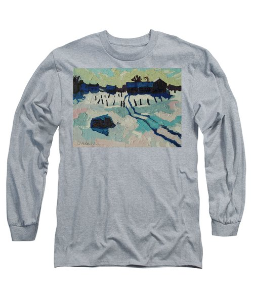 Foley Farm In Winter Long Sleeve T-Shirt by Phil Chadwick