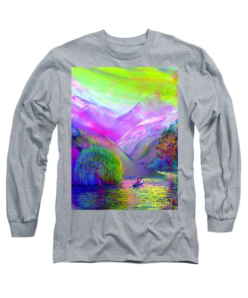 Long Sleeve T-Shirt featuring the painting  Love Is Following The Flow Together by Jane Small