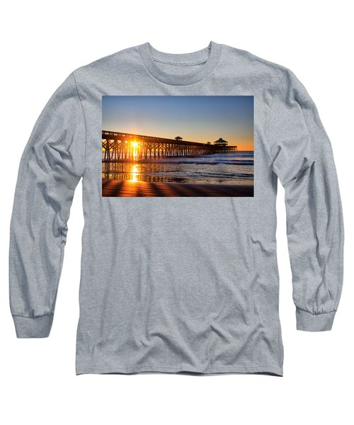 Folly Beach Pier At Sunrise Long Sleeve T-Shirt by Lynne Jenkins