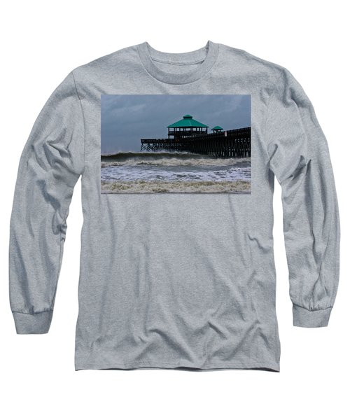 Folly Beach Pier During Sandy Long Sleeve T-Shirt