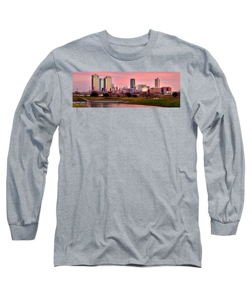 Long Sleeve T-Shirt featuring the photograph Fort Worth Skyline At Dusk Evening Color Evening Panorama Ft Worth Texas  by Jon Holiday