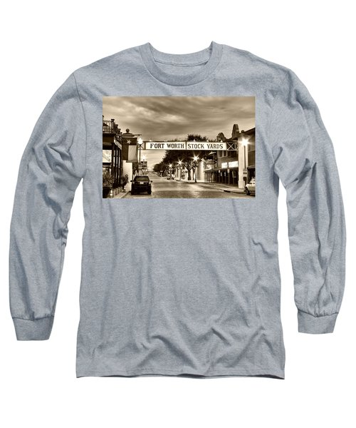 Fort Worth Stock Yards In Sepia Long Sleeve T-Shirt