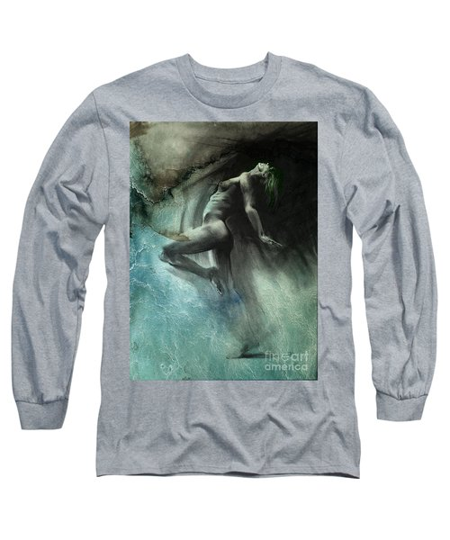 Long Sleeve T-Shirt featuring the drawing Fount I - Textured by Paul Davenport