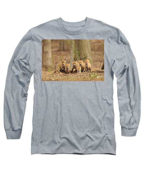 Fox Family Portrait Long Sleeve T-Shirt by Everet Regal