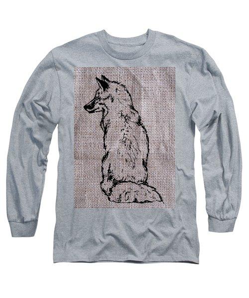 Fox On Burlap  Long Sleeve T-Shirt