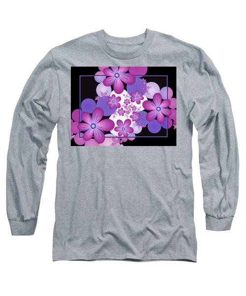 Fractal Flowers Modern Art Long Sleeve T-Shirt