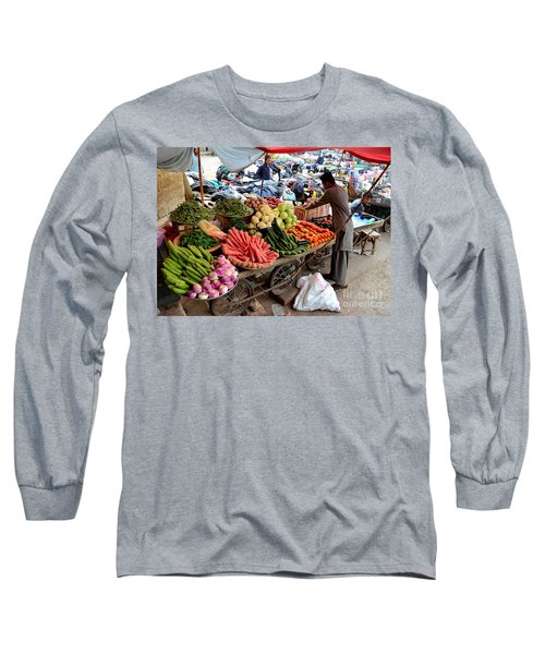 Fruit And Vegetable Seller Tends To His Cart Outside Empress Market Karachi Pakistan Long Sleeve T-Shirt
