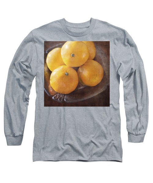 Fruit Still Life Oranges And Antique Silver Long Sleeve T-Shirt