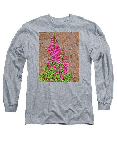 Fuchsia Profusion Long Sleeve T-Shirt by Donna  Manaraze