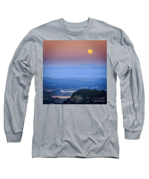 Full Moon Over Vejer Cadiz Spain Long Sleeve T-Shirt by Pablo Avanzini
