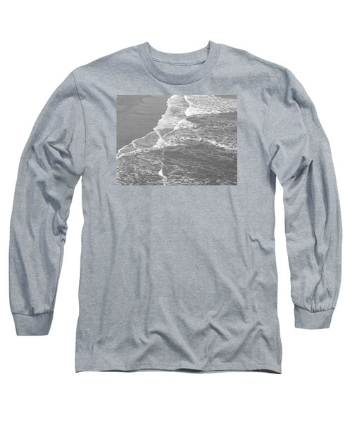 Galveston Tide In Grayscale Long Sleeve T-Shirt by Connie Fox
