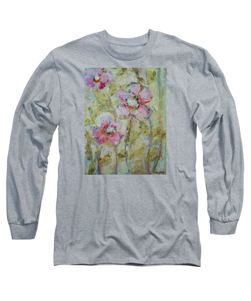 Long Sleeve T-Shirt featuring the painting Garden Bliss by Mary Wolf