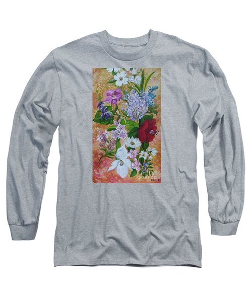 Long Sleeve T-Shirt featuring the painting Garden Delight by Eloise Schneider