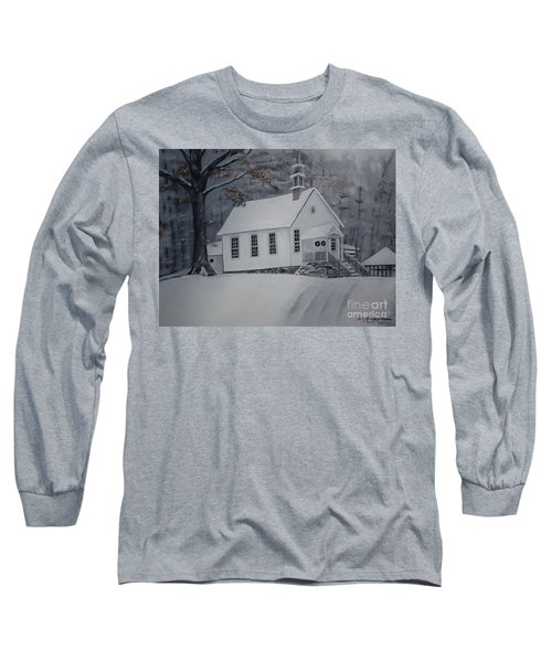 Long Sleeve T-Shirt featuring the painting Gates Chapel - Ellijay - Signed By Artist by Jan Dappen