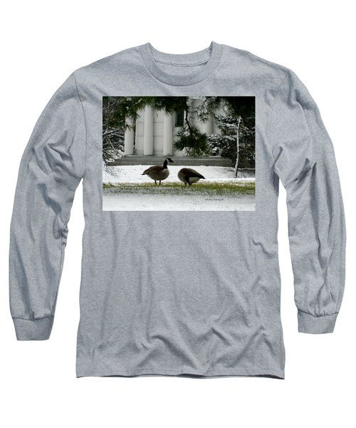 Long Sleeve T-Shirt featuring the photograph Geese In Snow by Kathy Barney