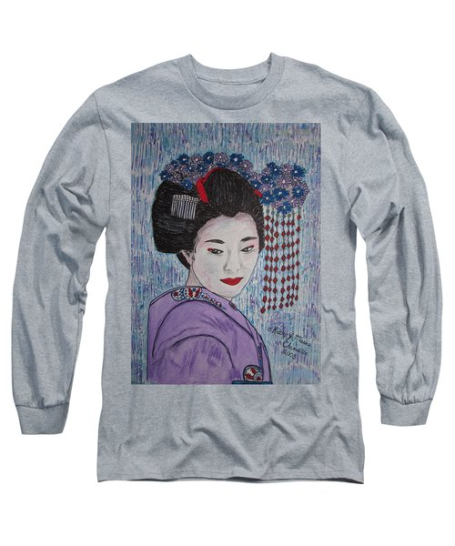 Geisha Girl Long Sleeve T-Shirt by Kathy Marrs Chandler