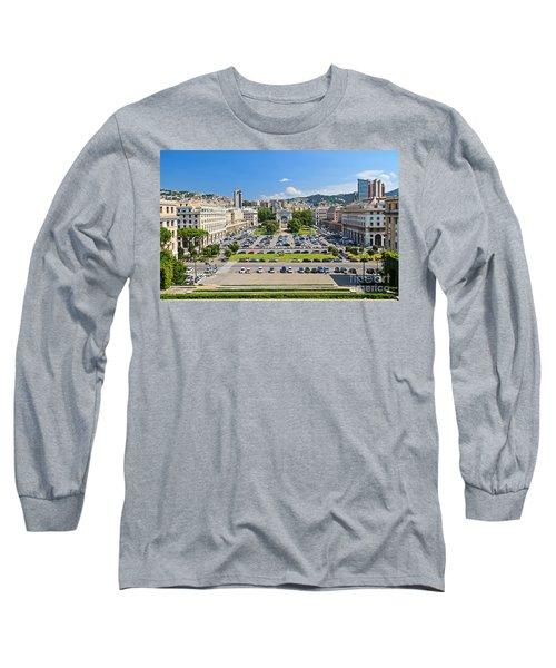 Genova - Piazza Della Vittoria Overview Long Sleeve T-Shirt by Antonio Scarpi