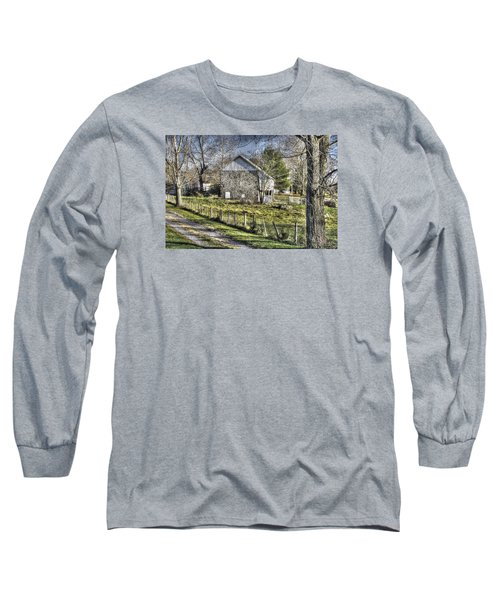 Long Sleeve T-Shirt featuring the photograph Gettysburg At Rest - Sarah Patterson Farm Field Hospital Muted by Michael Mazaika
