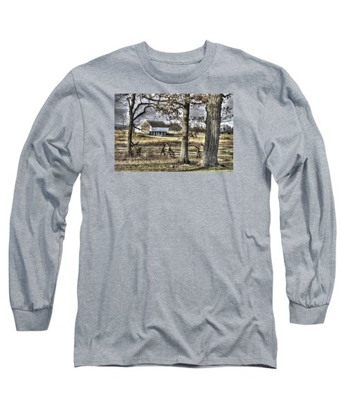 Long Sleeve T-Shirt featuring the photograph Gettysburg At Rest - Winter Muted Edward Mc Pherson Farm by Michael Mazaika