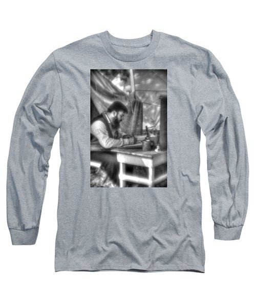 Long Sleeve T-Shirt featuring the photograph Gettysburg In The Camp - The Chaplain's Letter Home by Michael Mazaika