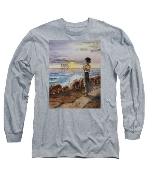 Long Sleeve T-Shirt featuring the painting Girl And The Ocean Sailing Ship by Irina Sztukowski