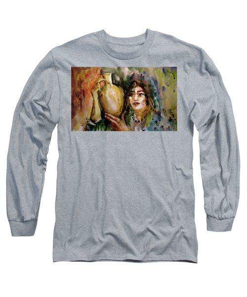 Girl With A Jug. Long Sleeve T-Shirt by Faruk Koksal