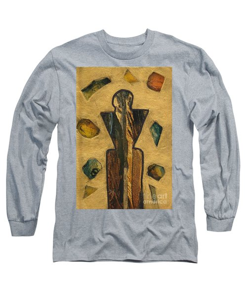 Long Sleeve T-Shirt featuring the painting Gold Black Male Gems by Patricia Cleasby