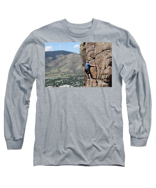 Long Sleeve T-Shirt featuring the pyrography Golden Climbing by Chris Thomas