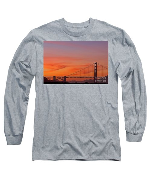 Golden Gate Sunset Long Sleeve T-Shirt by Kate Brown