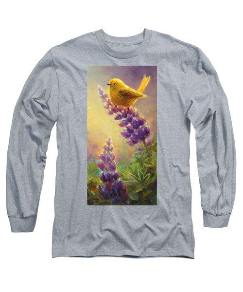Golden Light 2 Wilsons Warbler And Lupine Long Sleeve T-Shirt by Karen Whitworth