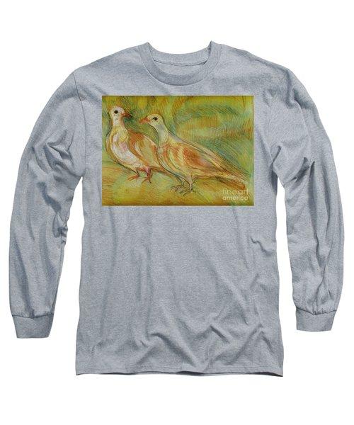 Golden Pigeons Long Sleeve T-Shirt by Anna Yurasovsky