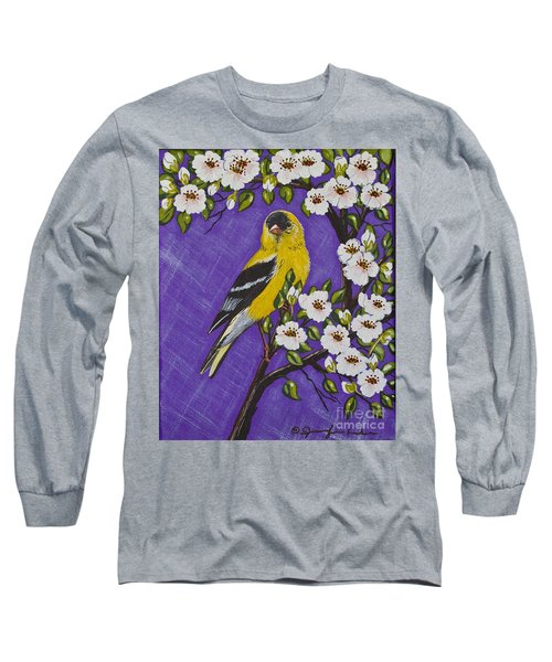 Long Sleeve T-Shirt featuring the painting Goldfinch In Pear Blossoms by Jennifer Lake