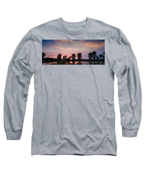 Goose Lake Prairie Sunset Long Sleeve T-Shirt
