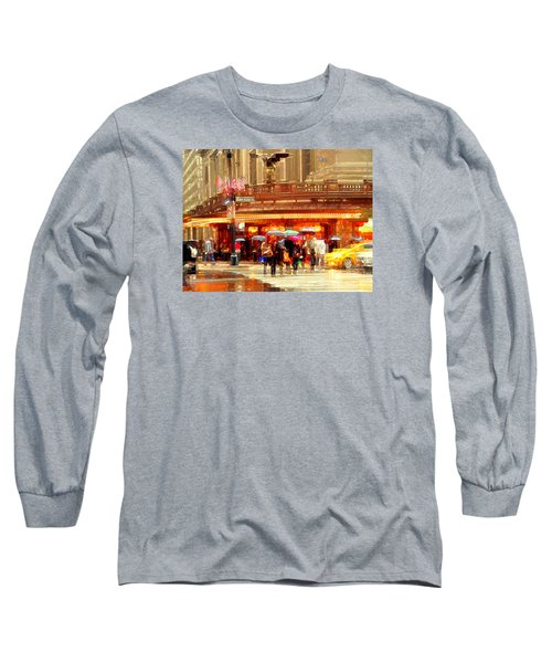 Grand Central Station In The Rain - New York Long Sleeve T-Shirt by Miriam Danar