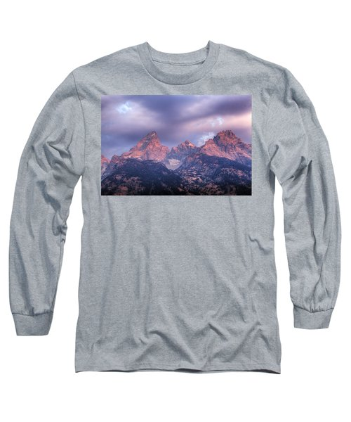 Long Sleeve T-Shirt featuring the photograph Grand Teton In Morning Clouds by Alan Vance Ley