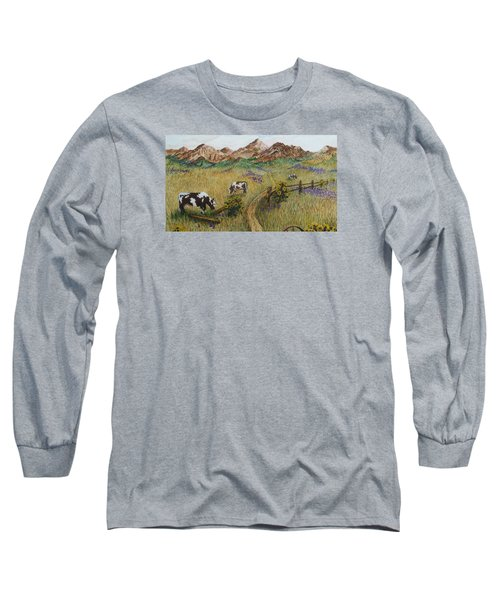 Grazing Cows Long Sleeve T-Shirt by Katherine Young-Beck