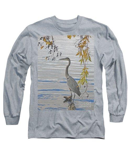 Great Blue Heron Long Sleeve T-Shirt by Ann Horn