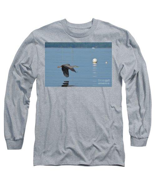 Great Blue Heron  Long Sleeve T-Shirt by DejaVu Designs