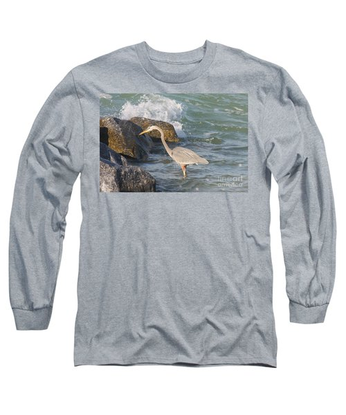 Long Sleeve T-Shirt featuring the photograph Great Blue Heron On The Prey by Christiane Schulze Art And Photography
