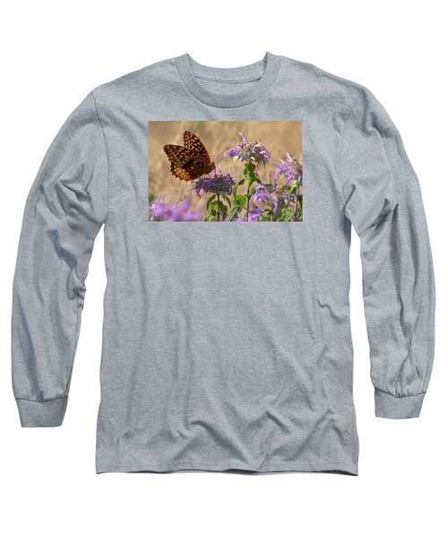 Great Spangled On Bee Balm Long Sleeve T-Shirt by Shelly Gunderson