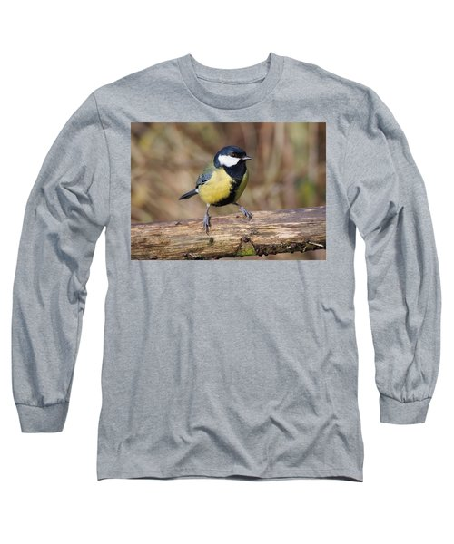 Great Tit On A Log Long Sleeve T-Shirt
